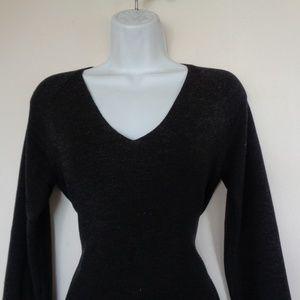Banana Republic Wool Black V-Neck Sweater Medium